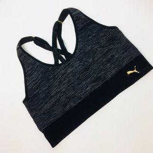 Puma Black And Gray Star Strap Sports Bra